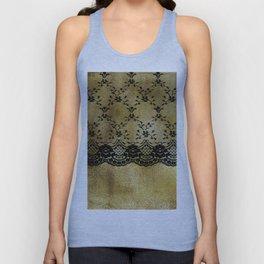 Black floral elegant lace on gold metal background Unisex Tank Top