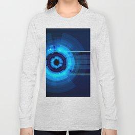 Blue Neon Light Circles Long Sleeve T-shirt