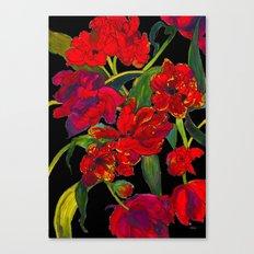 Inky Tulips Black Canvas Print