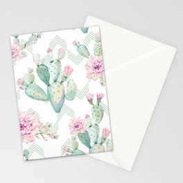 Cactus Rose Deconstructed Chevron Stationery Cards