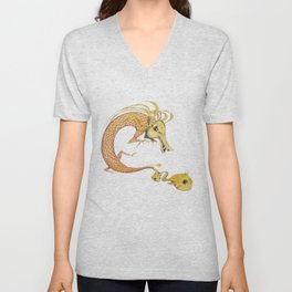 Dragon with fish Unisex V-Neck