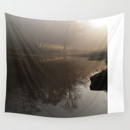 Foggy Morning in the Forest Wall Tapestry