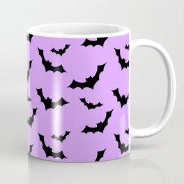 Black Bat Pattern on Purple Coffee Mug