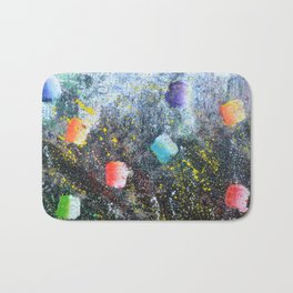 ICE CREAM, CITY LIGHTS AND HOT SUMMER NIGHTS - abstract expressionism original prophetic painting Bath Mat