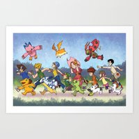 digimon Art Prints featuring Hey Digimon! by Crystal Kan