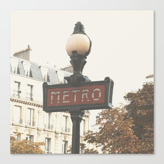Metro - Paris Sign Photography Canvas Print