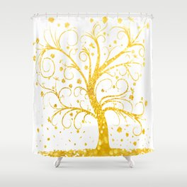 Gold Tree Shower Curtain