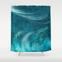 aqua Shower Curtains featuring aqua by haroulita