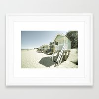 bleach Framed Art Prints featuring Bleach Huts  by Rob Hawkins Photography