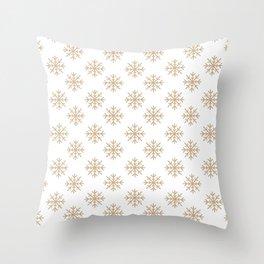 Snowflakes (Tan & White Pattern) Throw Pillow