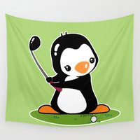 golf Wall Tapestries featuring Golf Penguin by joanfriends