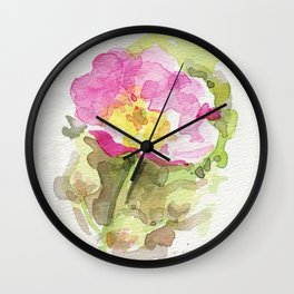 Wild Summer Rose Wall Clock