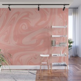 Pantone Living Coral Abstract Fluid Art Swirl Pattern Wall Mural