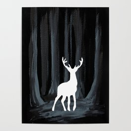 Glowing White Stag Poster