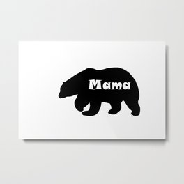 Mama Grizzly black bear shape silhouette Metal Print