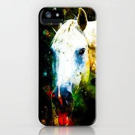 white horse face portrait watercolor splatters iPhone Case