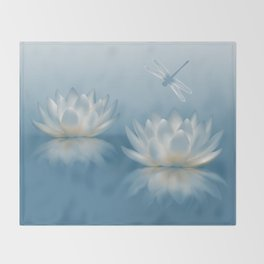 Blue Lotus and Dragonfly Throw Blanket