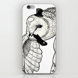 Sir Tyto Alba and his Fish (black) iPhone Skin