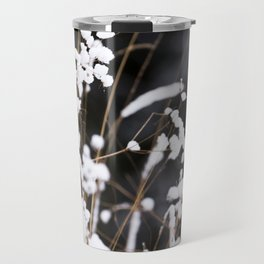 First Snow in Forest - White on Black #decor #society6 #buyart Travel Mug