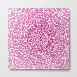 Pink Magenta Detailed Ethnic Eclectic Mandala Mandalas Metal Print