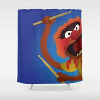 muppets Shower Curtains featuring Animal - Muppets Collection by Bryan Vogel