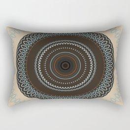 Brown Blue Biege Mandala Rectangular Pillow