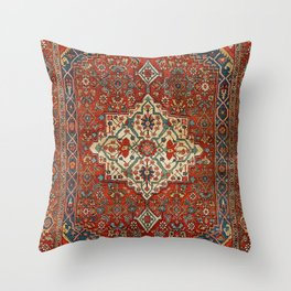 North-West Persia Bijar Old Century Authentic Colorful Royal Red Blue Green Vintage Patterns Throw Pillow
