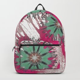 Hot Magenta and Light Green Floral Abstract Backpack