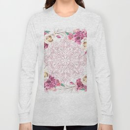 Rose Gold Mandala Garden on Marble Long Sleeve T-shirt