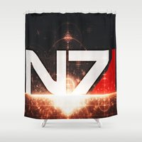 mass effect Shower Curtains featuring Mass Effect N7 by Anthony.Ch