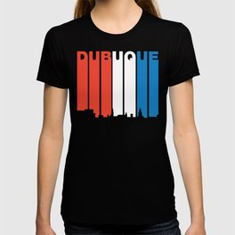Red White And Blue Dubuque Iowa Skyline T-shirt
