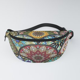 Colorful floral seamless pattern from circles with mandala in patchwork boho chic style Fanny Pack