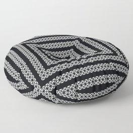 Graphic Decorative Geometric Snake, White on Black  Floor Pillow
