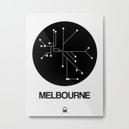 Melbourne Black Subway Map Metal Print