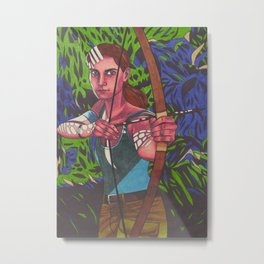 Lara on Fire Metal Print