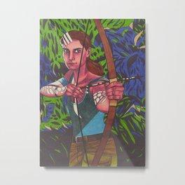 Lara on Fire Metal Print