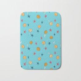 seashells and starfishes - blue Bath Mat