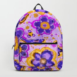 Field of Flowers Watercolor and Ink Painting , Ultraviolet Purple Blooms Backpack