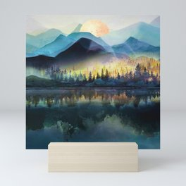 Mountain Lake Under Sunrise Mini Art Print