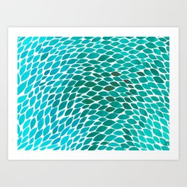 Ombre leaves - teal and cyan Art Print