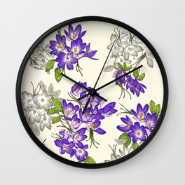 Purple Crocus Wall Clock