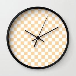 Small Checkered - White and Sunset Orange Wall Clock