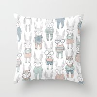 bunnies Throw Pillows featuring BUNNIES by Catalina Graphic