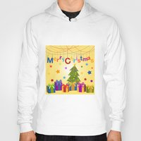 merry christmas Hoodies featuring Merry Christmas by itsme.emi