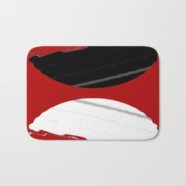 red black white grey abstract digital painting Bath Mat