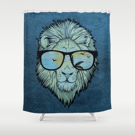 Stylish Lion Design with Moroccan Leather background Shower Curtain