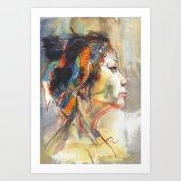 queen Art Prints featuring Queen by Josey Lee