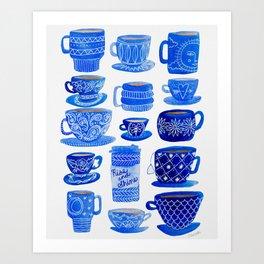 Coffee Mugs and Tea Cups - A study in blues Art Print