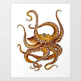 Brown Octopus Tentacles Dance Watercolor Art Print
