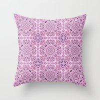 wallpaper Throw Pillows featuring Pink kaleidoscope wallpaper by David Zydd